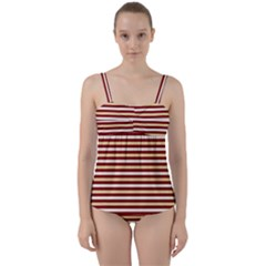 Gold And Wine Twist Front Tankini Set