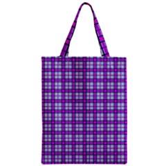 Purple Tartan Zipper Classic Tote Bag