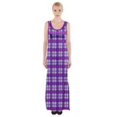 Purple Tartan Maxi Thigh Split Dress