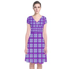 Purple Tartan Short Sleeve Front Wrap Dress
