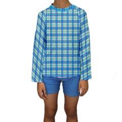 Sea Tartan Kids  Long Sleeve Swimwear
