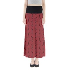 Expressionism Red  Full Length Maxi Skirt