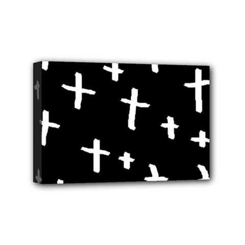 White Cross Mini Canvas 6  X 4