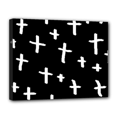 White Cross Canvas 14  X 11