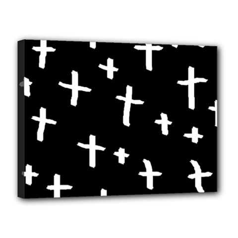 White Cross Canvas 16  X 12