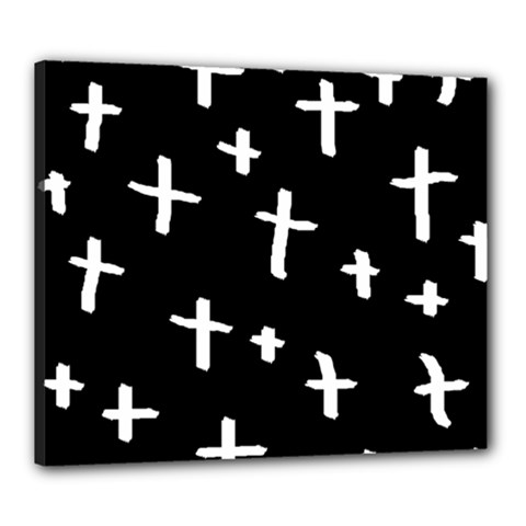 White Cross Canvas 24  X 20