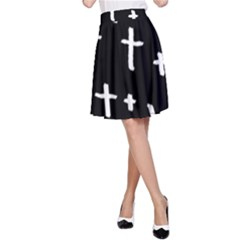 White Cross A Line Skirt