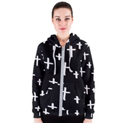 White Cross Women s Zipper Hoodie