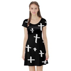 White Cross Short Sleeve Skater Dress