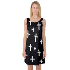 White Cross Sleeveless Satin Nightdress