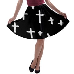 White Cross A Line Skater Skirt