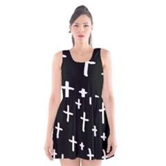 White Cross Scoop Neck Skater Dress