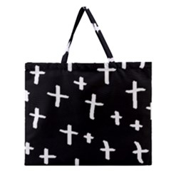 White Cross Zipper Large Tote Bag