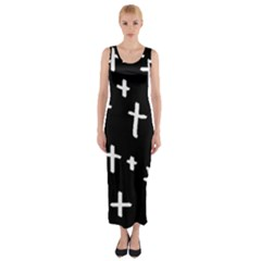 White Cross Fitted Maxi Dress