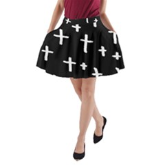 White Cross A Line Pocket Skirt