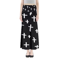 White Cross Full Length Maxi Skirt
