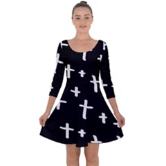 White Cross Quarter Sleeve Skater Dress