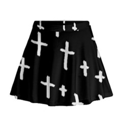 White Cross Mini Flare Skirt
