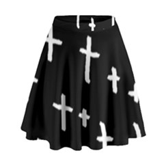 White Cross High Waist Skirt