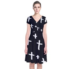 White Cross Short Sleeve Front Wrap Dress