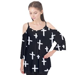 White Cross Flutter Tees