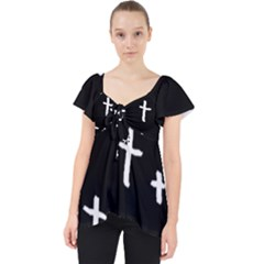 White Cross Lace Front Dolly Top