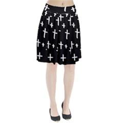 White Cross Pleated Skirt
