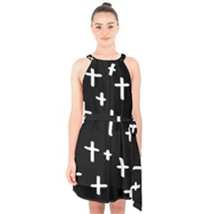 White Cross Halter Collar Waist Tie Chiffon Dress
