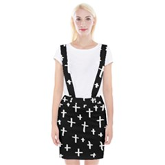 White Cross Braces Suspender Skirt