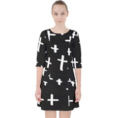White Cross Pocket Dress