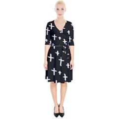 White Cross Wrap Up Cocktail Dress