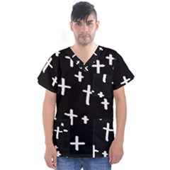 White Cross Men s V Neck Scrub Top