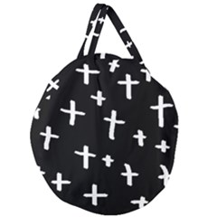 White Cross Giant Round Zipper Tote