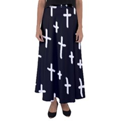 White Cross Flared Maxi Skirt