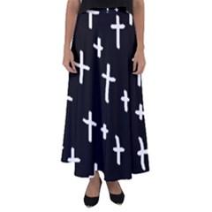 White Cross Flared Maxi Skirt