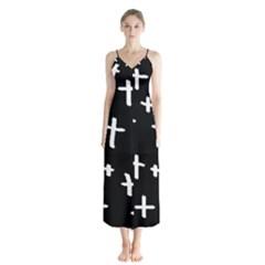 White Cross Button Up Chiffon Maxi Dress