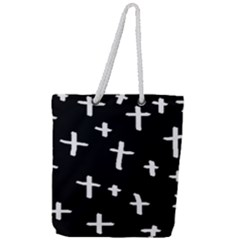 White Cross Full Print Rope Handle Tote (large)