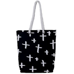 White Cross Full Print Rope Handle Tote (small)