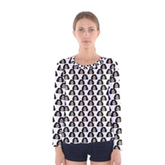 Angry Girl Pattern Women s Long Sleeve Tee