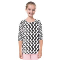 Angry Girl Pattern Kids  Quarter Sleeve Raglan Tee
