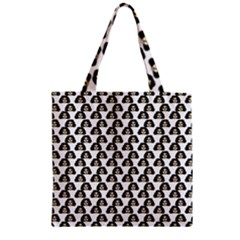 Angry Girl Pattern Zipper Grocery Tote Bag