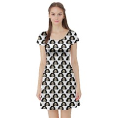 Angry Girl Pattern Short Sleeve Skater Dress