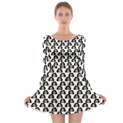 Angry Girl Pattern Long Sleeve Skater Dress