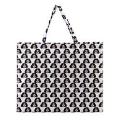 Angry Girl Pattern Zipper Large Tote Bag