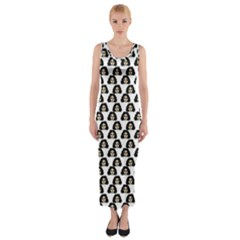 Angry Girl Pattern Fitted Maxi Dress