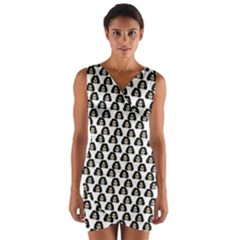 Angry Girl Pattern Wrap Front Bodycon Dress