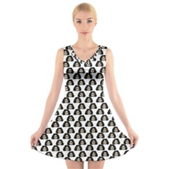 Angry Girl Pattern V Neck Sleeveless Skater Dress