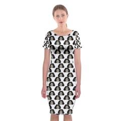 Angry Girl Pattern Classic Short Sleeve Midi Dress