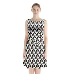 Angry Girl Pattern Sleeveless Waist Tie Chiffon Dress