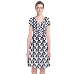 Angry Girl Pattern Short Sleeve Front Wrap Dress